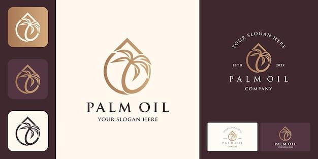 Conception de logo d'huile de palme et carte de visite