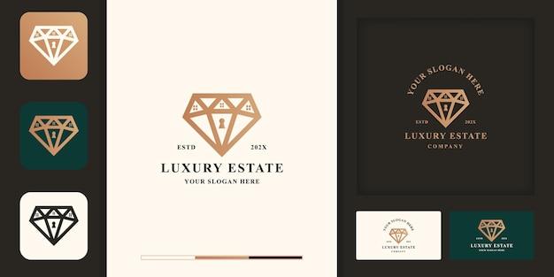 Conception de logo immobilier de luxe, combinaison de diamants avec maison et conception de cartes de visite