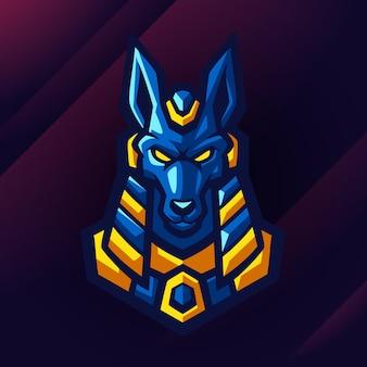 Conception de logo impressionnant de loup d'egypte