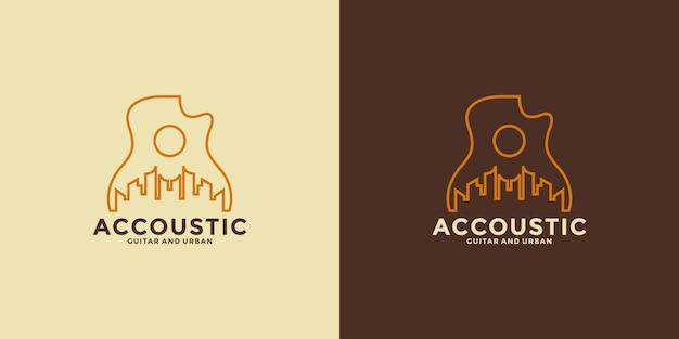 Conception de logo d'inspiration country acoustique minimaliste avec dessin au trait