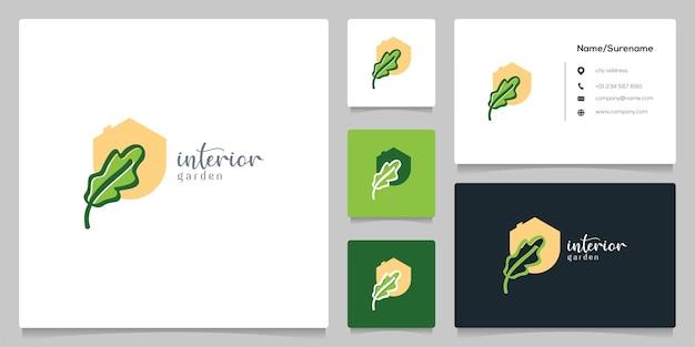 Conception de logo d'intérieur de décoration fraîche feuille graphique plate avec carte de visite