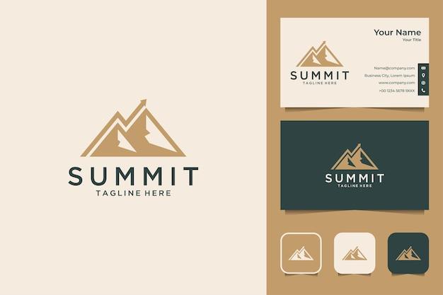 Conception de logo d'investissement de sommet et carte de visite