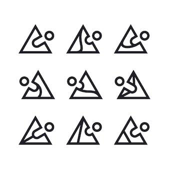 Conception de logo de jeu de triangle de personnes