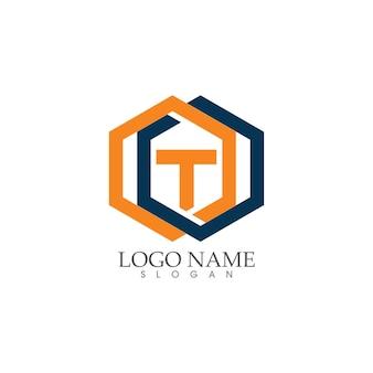 Conception de logo de lettre t de propriété et de construction