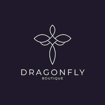 Conception de logo libellule élégante et minimaliste avec style d'art en ligne pour les bijoux de boutique et le salon