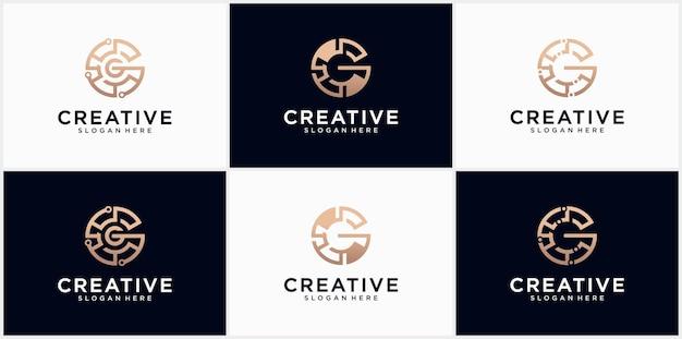 Conception de logo de ligne g lettre technologie symbole d'icône de logotype minimaliste créatif icône de logo de lettre g