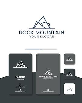 Conception de logo de ligne de montagne colline rock