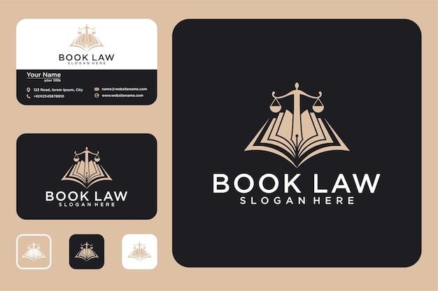 Conception de logo de livre de droit et carte de visite