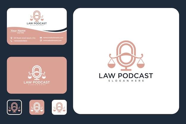Conception de logo de loi de podcast et cartes de visite