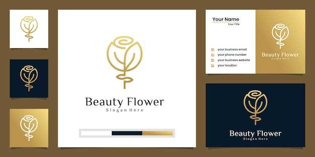 Conception de logo de luxe fleur rose et carte de visite