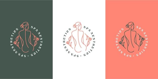 Conception de logo de luxe monoline esthétique corps spa femme