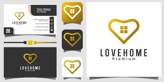Conception de logo de luxe de vie à la maison d'amour
