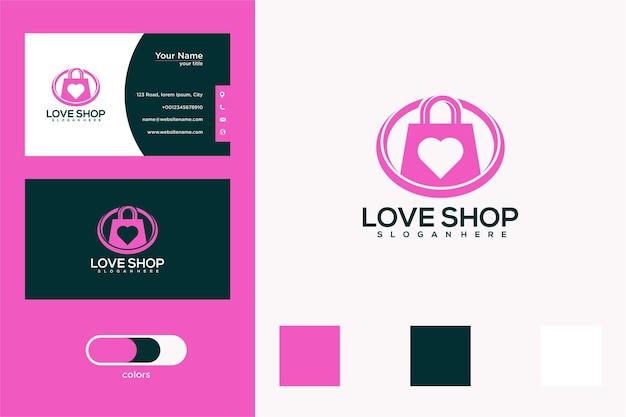 Conception de logo de magasin d'amour et carte de visite