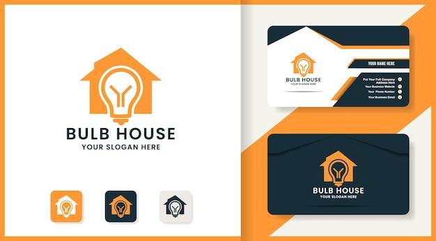 Conception de logo de maison d'ampoule et de carte de visite
