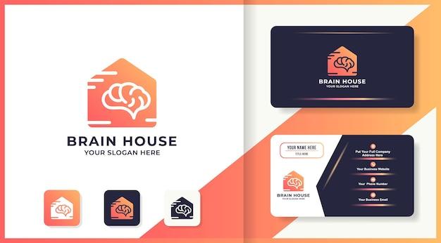 Conception de logo de maison de cerveau et carte de visite