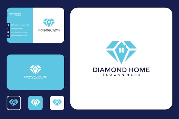 Conception de logo de maison de diamant et carte de visite
