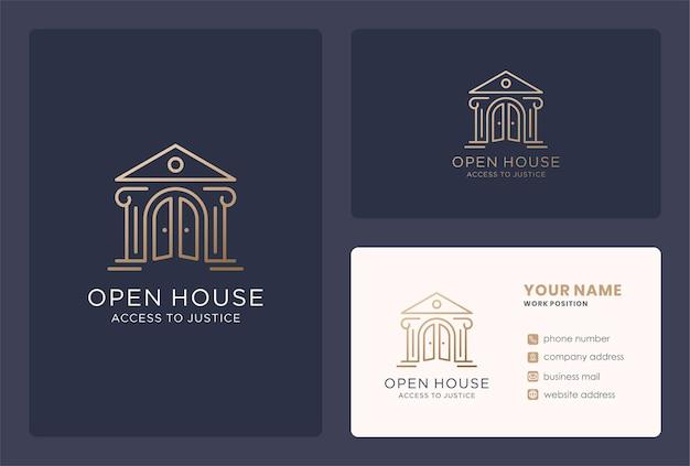 Conception de logo de maison de droit et modèle de carte de visite