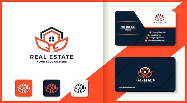 Conception de logo de maison de feuille et carte de visite