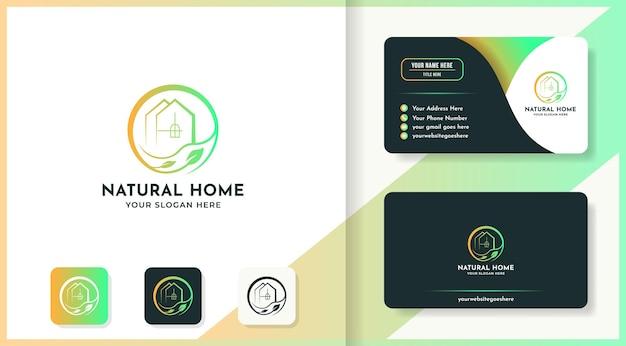 La conception de logo de maison de feuille utilise le style d'art de ligne et la carte de visite