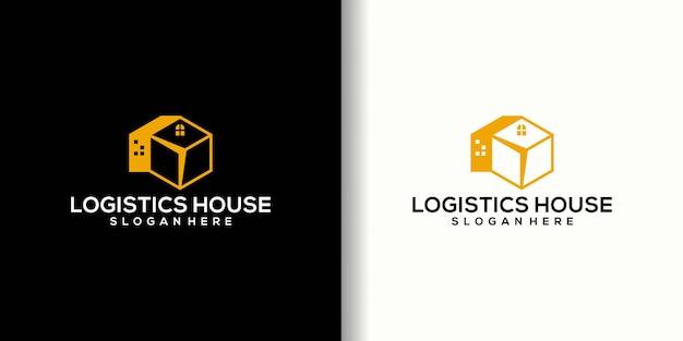 Conception de logo de maison de logistique, maison de logo créatif et boîte de logistique