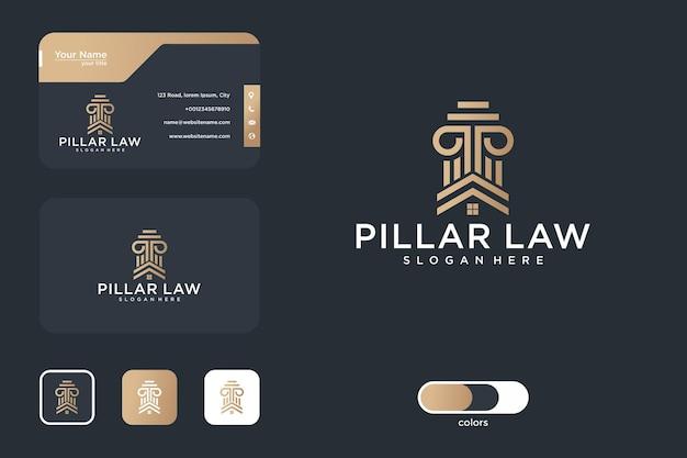 Conception de logo de maison de pilier et carte de visite