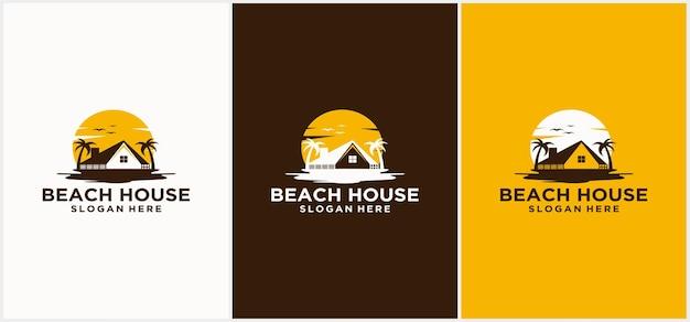 Conception de logo de maison de plage logo de l'hôtel logo de l'hôtel de la station balnéaire modèles de logo de vacances à la plage