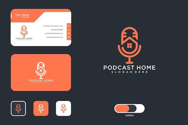 Conception de logo de maison de podcast et carte de visite