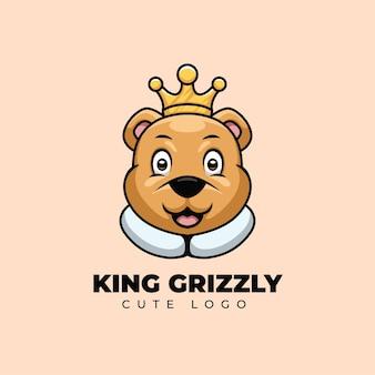 Conception de logo de mascotte créative de dessin animé mignon roi grizzli