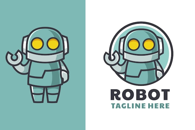 Conception de logo de mascotte de dessin animé de robot