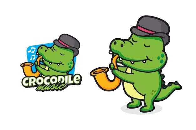 Conception de logo de mascotte musique crocodile fond isolé