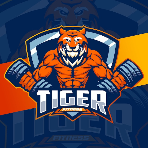 Conception de logo de mascotte de personnage de fitness fort de tigre pour le jeu de musculation de fitness et le logo de sport