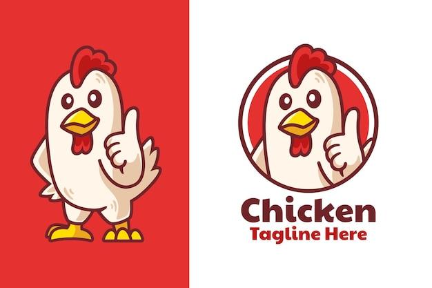 Conception de logo de mascotte de pouce vers le haut de poulet