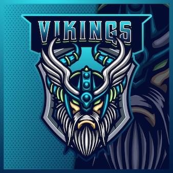 Conception de logo de mascotte de sport et d'esport de dieu odin viking