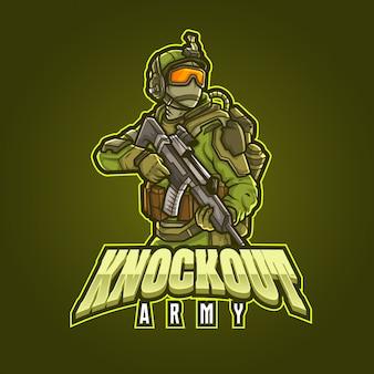 Conception de logo de mascotte de sport modifiable et personnalisable, armée de knockout de logo d'esports