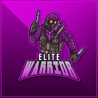 Conception de logo de mascotte de sport modifiable et personnalisable, soldat de l'armée de logo de twitch d'esports