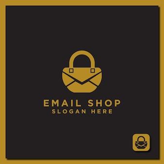 Conception de logo de modèle icône de magasinage par e-mail avec un concept moderne