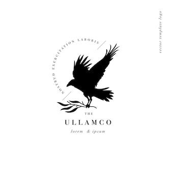 Conception de logo de modèle linéaire ou emblème corbeau avec branche