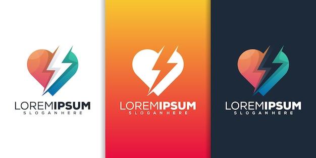Conception de logo moderne d'amour et d'énergie