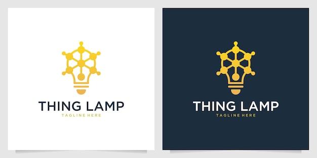 Conception de logo moderne de lampe de chose jaune