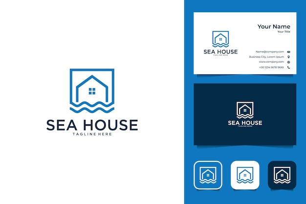 Conception de logo moderne de maison de mer et carte de visite