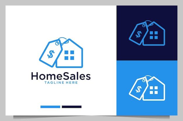 Conception de logo moderne de remise de vente à domicile
