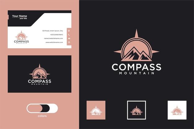 Conception de logo de montagne boussole et carte de visite