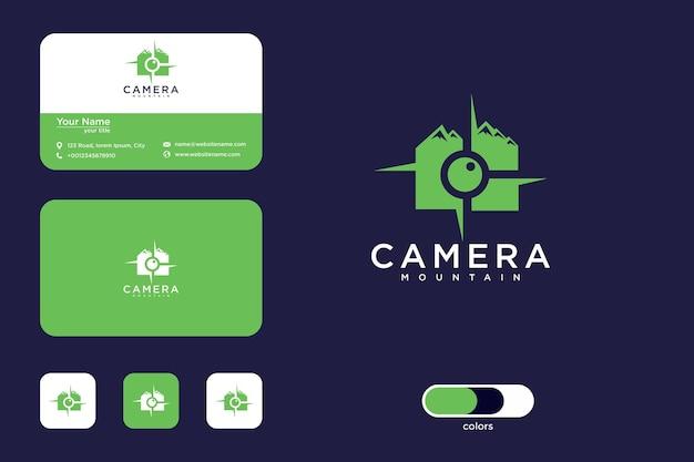 Conception de logo de montagne de caméra et carte de visite
