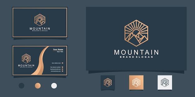 Conception de logo de montagne minimaliste avec style d'art au trait hexagonal et conception de carte de visite vecteur premium