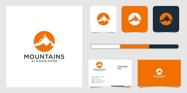 Conception de logo de montagne et modèle de carte de visite