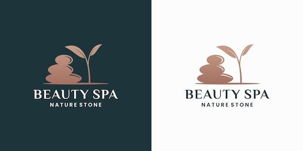 Conception de logo de nature de pierres de spa de beauté
