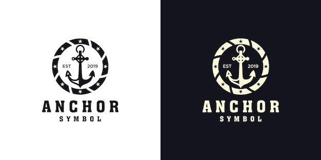 Conception de logo nautique d'ancre et corde circulaire