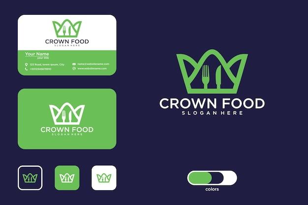 Conception de logo de nourriture de couronne et carte de visite