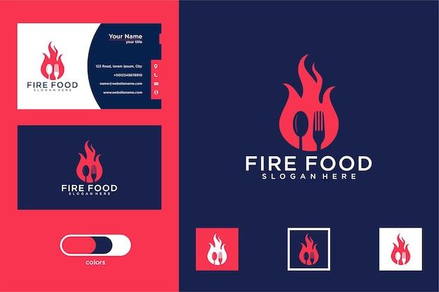 Conception de logo de nourriture de feu et carte de visite