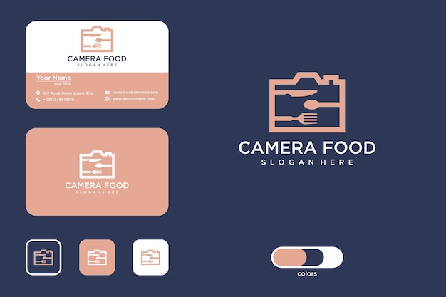 Conception de logo de nourriture pour appareil photo et carte de visite